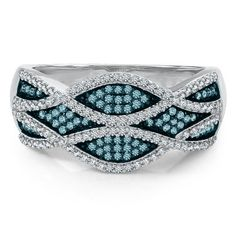 3/8 ct. tw. Blue I love this ring the design  is very intricate and the color of the diamonds is fabulous!!