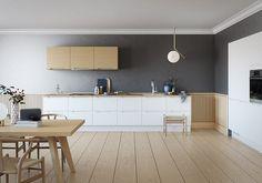 Kjøkkendesign til det moderne liv: Finn dine nye kjøkkenmøbler Modern Cabinets, Kitchen Cabinets, Colorful Furniture, Open Kitchen, Living Room Kitchen, Wall Colors, Countertops, Kitchen Design, New Homes