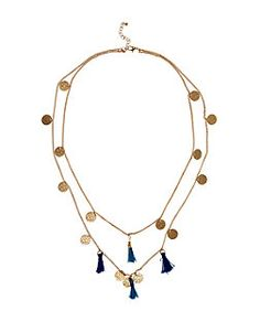 Blue Tassel and Coin Layered Necklace  | New Look