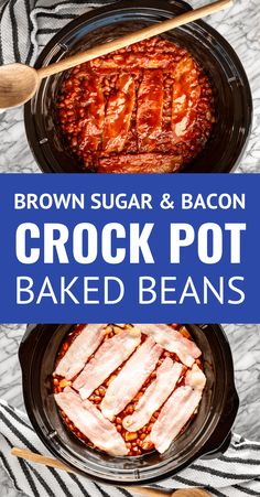Crock Pot Baked Beans with Bacon & Brown Sugar -- you can't go wrong with your good ole' slow cooker when it comes to making baked beans for a crowd! This tried and true easy crock pot baked beans recipe is loaded with brown sugar + bacon and is ideal for Baked Beans Crock Pot, Canned Baked Beans, Easy Baked Beans, Slow Cooker Baked Beans, Baked Beans With Bacon, Baked Bean Recipes, Crockpot Dishes, Crock Pot Slow Cooker, Crock Pot Cooking