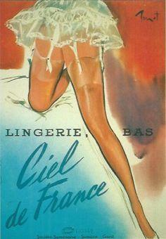 """Illustration by Pierre-Laurent Brénot, Lingerie """"Ciel de France""""."""