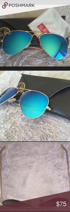 RAY BAN AVIATOR Sunglsses Blue Lens Gold Frame Authentic unisex Ray Ban aviator sunglasses 003/17 Size: 62mm Frame: gold Lens: blue mirrored Ray-Ban Accessories Sunglasses