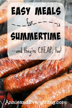Easy Summer Meals — and they're cheap, too! – Annie & Everything I hate cooking, especially in the summer! Here's my list of easy meals (that are also cheap) to throw together when I'd rather be playing! Check it out! Easy Summer Dinners, Cheap Easy Meals, Cheap Food, Inexpensive Meals, Quick Recipes, Summer Recipes, Summer Meal Ideas, Weeknight Recipes, Cheap Recipes
