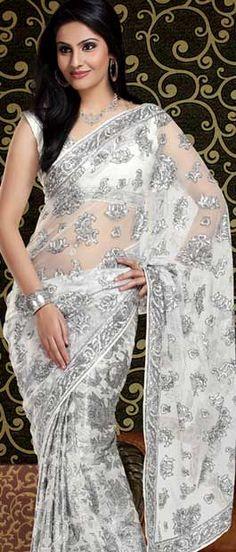 Saree!! Sarees!! saree!! sarees!! Off White Faux Georgette Saree | $82.60