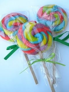 """Sugar Cookie Pops...in """"Oh the Places You'll Go"""" colors for Dr. Seuss party."""