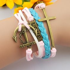 boyfriend and girlfriend gift kids friendship bracelet jewelry, pink bronze unique anchor skull love sliver charms bangle wrist