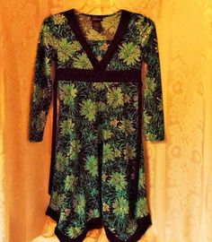 Speechless Dress Girls Size 10 Floral Print Long Sleeve Black/Blue/Silver #Speechless