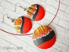 Red fire jewelry set - Fire polymer clay jewelry - Tribal jewelry - Love…