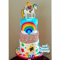 Rainbow Brite Cake | 20+ Rainbow Cakes & Party Ideas - click over to RoseBakes.com for tons of beautiful Rainbow cake and party ideas for your Rainbow themed party! #cake #cakes #rainbow #rainbowcakes #stpatricksday