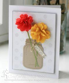 Stampin' Up Cotton Paper Jar of Flowers by #RunningwScissorsStamper, Perfectly Preserved