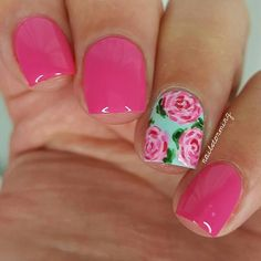 """Lilly Pulitzer inspired! - Products used: Base: """"Blossom Dandy"""" Essie Acrylic paint Pink on other nails: """"Bottle Service"""" Essie Top coat: Hk girl @glistenandglow1"""