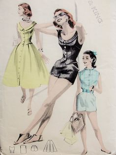 1950s Sizzling Beachwear Pattern Perfect Weekend Resort Wardobe Full Flared Front Button Skirt, Scoop Neckline Vest Blouse or Perter Pan Collar Version, Rockabilly Little Boy Shorts With Pockets Butterick 7763 Vintage Sewing Pattern Bust 32