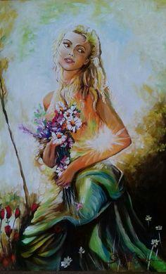 Primavera chegou!  Pintura à óleo sobre papel  Ana Paula Campos Teixeira