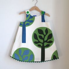 Green Tree Toddler or Girls Dress - sizes newborn to girls 3T - children's clothing on Etsy, £23.29