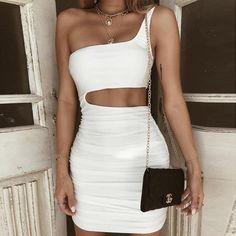 c4fe9f517 Lyprerazy Elegant one shoulder bodycon dress Slim evening party club white dress  Women summer backless sexy