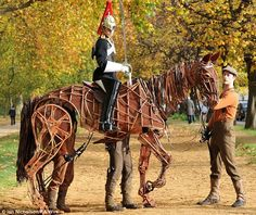 Built out of cane, the horse is not only lightweight but extremely strong to hold even part of the British Cavalry in London