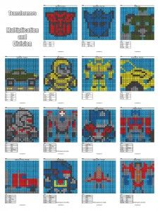 Transformers- Multiplication and Division Math Coloring Worksheets- Coloring Squared