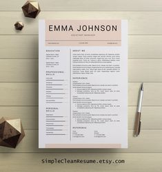 Professional resume template cv template for word mac or pc professional resume template professional cv by simplecleanresume pronofoot35fo Images