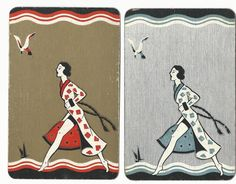 English  Narrow Named - Ladies -2 0ld linen single vintage swap playing cards /- #Vintage
