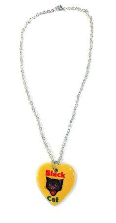 www.brokencherry.com #heart #blackcat #fireworks #necklaces  Black Cat Fireworks Heart Necklace  $16.00
