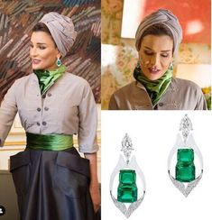 Sheikha Moza was wearing these absolutely gorgeous emerald earrings by with her Christian Dior haute couture ensemble in… Street Hijab Fashion, Muslim Fashion, Modest Fashion, Queen Fashion, Royal Fashion, Fashion Brand, Dior Haute Couture, Couture Fashion, Victoria Beckham