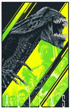 """kogaionon: """"Aliens by Steven Holliday / Facebook / Twitter / Instagram / Society6 / Store Part of the Crazy 4 Cult 9: Let's Go Out To The Movies art show at Gallery1988. 20″ x 30″ 5 color screenprint with metallic inks, signed and numbered edition of..."""