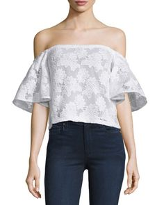 Off-The-Shoulder+Floral-Lace+Top,+White+by+Nicholas+at+Neiman+Marcus.