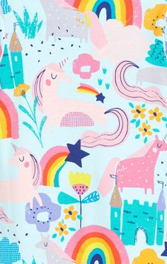 Wallpaper Wa, Rainbow Wallpaper, Aesthetic Iphone Wallpaper, Kids Background, Flower Background Wallpaper, Unicorn Illustration, Pattern Illustration, Kids Patterns, Print Patterns