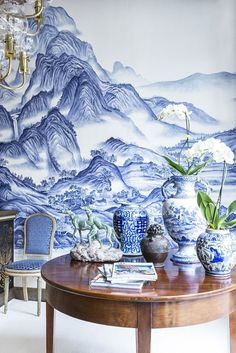 A Thousand Li wallpaper - of Rivers and Mountains design in Delft design colours on Bleached White dyed silk De Gournay Wallpaper, Silk Wallpaper, Chinoiserie Wallpaper, Chinoiserie Chic, White Wallpaper, Delft, Mountain Wallpaper, Blue And White China, Blue China