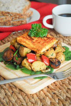 Breakfast Hash with Fried Tofu Egg - Vegan