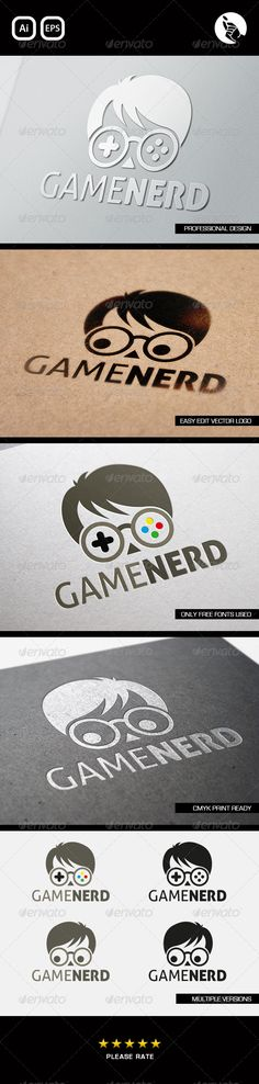 Game Nerd Logo — Vector EPS #xbox #nerd • Available here → https://graphicriver.net/item/game-nerd-logo/5693839?ref=pxcr