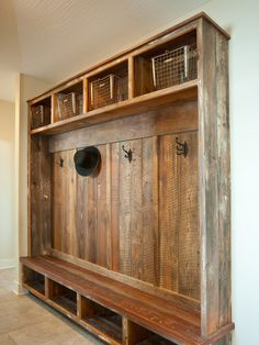 Reclaimed wood good for hiding wear and tear in a mudroom