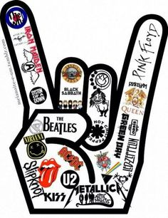 "I love this design! However, I only love/know like of the heavy metal/rock bands in this ""rock sign"" but I'm sure they're all amazing!<< This is amazing, Kinds Of Music, Music Is Life, Kiss Rock, Festa Rock Roll, Good Music, My Music, Live Music, Mundo Musical, Music Rock"