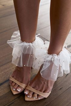 The Pearly anklets are crafted from our exclusive ivory pearl tulle. They're a pretty and playful addition to your favourite Dosa heels. Shop online now! Louboutin Wedding, Lace Heels, Shoes Heels, Shoes Sneakers, Shoes Men, Bridal Shoes, Wedding Shoes, Cute Shoes, Me Too Shoes