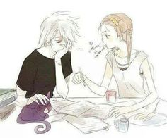 Soul and Maka trying to study