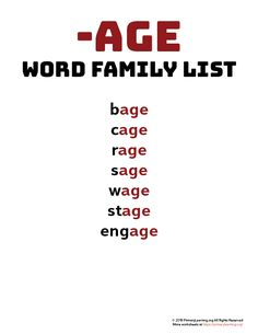 Using word families can help teach beginning spellers that words contain and share patterns. Use this word family list to introduce the sound of words ending with AGE. Phonics Chart, Phonics Rules, Phonics Lessons, Phonics Words, Spelling Words, Vocabulary Words, Jolly Phonics, Word Family List, Teaching Vowels