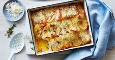 Pair this classic with a protein for an easy family-friendly winter meal! Potato Bake Without Cream, Vegetarian Recipes Dinner, Good Healthy Recipes, Raw Food Recipes, Cooking Recipes, Cooking Hacks, Vegan Meals, Delicious Recipes, Rosemary Recipes