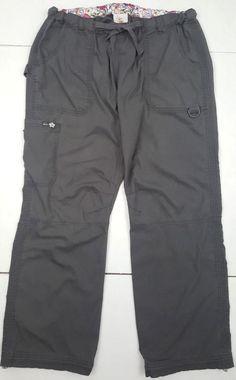 Koi Kathy Peterson Lindsey Cargo Scrub Nurse Pants Pocket Gray Women Size L K36 #Koi