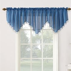 No. 918 Erica Crushed Texture Sheer Voile Beaded Ascot Rod Pocket Curtain Valance, x Blue String Curtains, Voile Curtains, Tier Curtains, Beaded Curtains, Rod Pocket Curtains, Valance Curtains, Curtain Panels, Curtain Sets, Sheer Valances