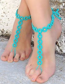 Beach Wedding Footwear Blue Bohemian Circles Crochet Womens Barefoot Shoe Accessories