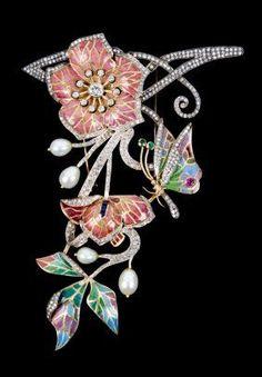 Art Nouveau enameled gold, silver & diamond brooch