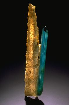 Elbaite - a member of the tourmaline family which encompasses eleven minerals - each has a ring arrangement of silicon, boron, and oxygen. This blue indicolite elbaite is from Minas Gerais, Brazil, the main source of fine tourmaline crystals. Minerals And Gemstones, Rocks And Minerals, Natural Crystals, Stones And Crystals, Gem Stones, Mineral Stone, Rocks And Gems, Krystal, Blue Tourmaline
