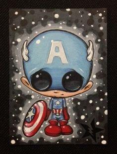 Azúcar alimentada por Capitán América Avengers por Sugarfueledart, $4.00