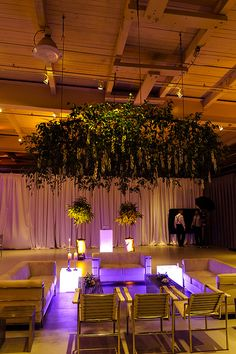 Lounge under floral hoop by Peachtree & Ward, via Flickr || Real Wedding  || The Wedding Factor