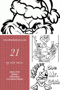 Grinch Mask Coloring Pages Grinch Mask Grinch Coloring Pages