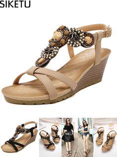 e4d0d9d85f11  Visit to Buy  SIKETU 2017 Bohemia Wedge Women Sandals Summer Vintage  Rhinestone Woman Flip Flops Beach Shoes Woman Zapatos Mujer Chaussure