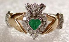 Emerald Claddagh Engagement Ring - Whoa.