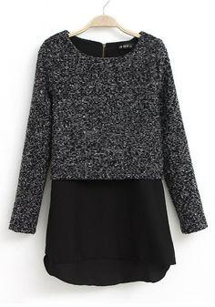 Dark Grey Patchwork Chiffon Long Sleeve Wool T-Shirt