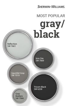 Have you ever wondered which Sherwin-Williams gray and black paint colors are the very best sellers? These beautiful hues all make the list. Tap this pin to find the right color for your next DIY painting project. Exterior Paint Colors For House, Interior Paint Colors, Paint Colors For Home, Exterior Colors, Best Bathroom Paint Colors, Exterior Gray Paint, Exterior Trim, Exterior Design, Sherwin Williams Grau