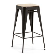 Kave Home Taburete Tiva, en Madera,Metal - Natural,Gris Bar Metal, Table Haute, High Stool, Bar Stools, Modern, Inspiration, Furniture, Vintage, Home Decor